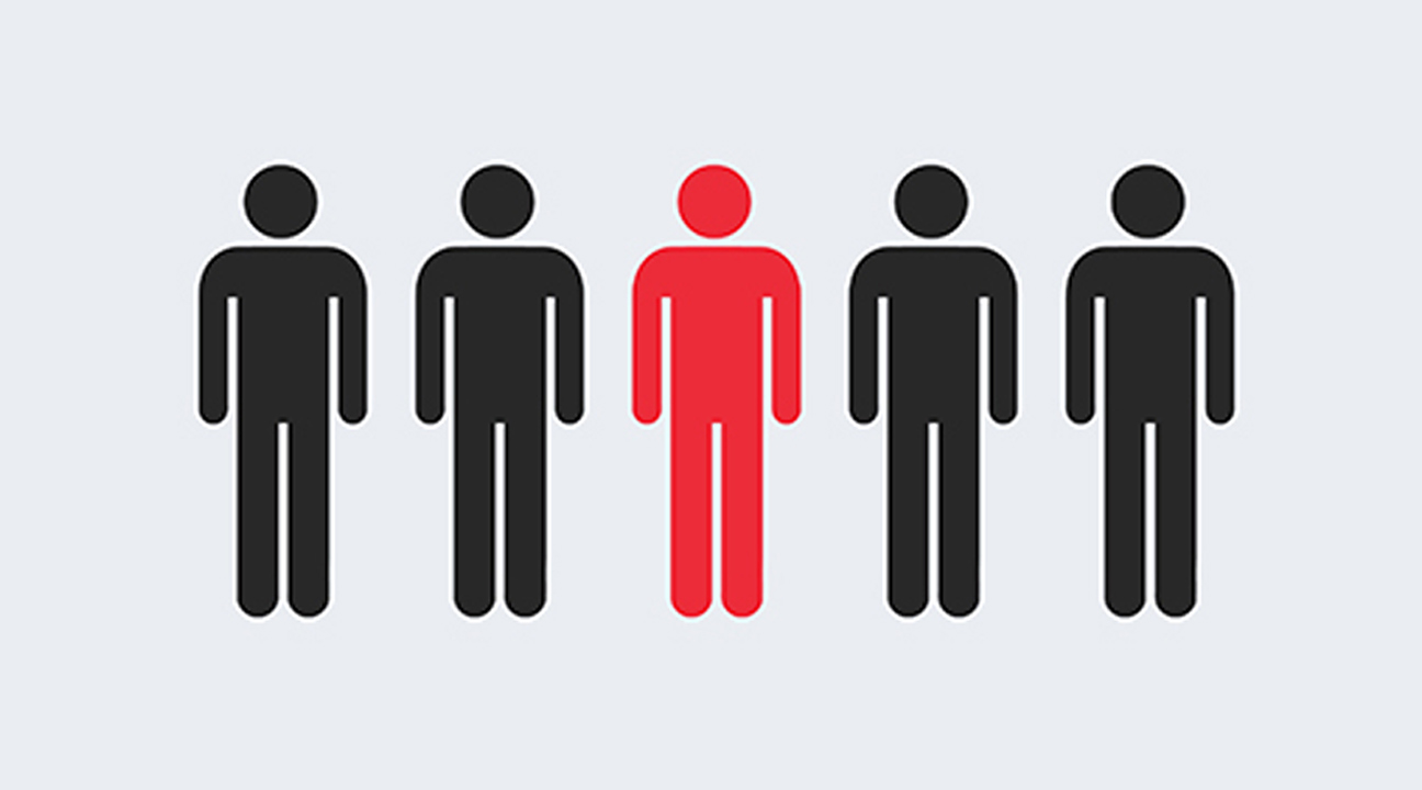 business logo design tips featured image - stickman highlighted in red in a group of 5 stickmen