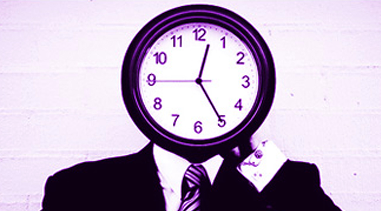 time management tips for freelancers - man with a clock for a face