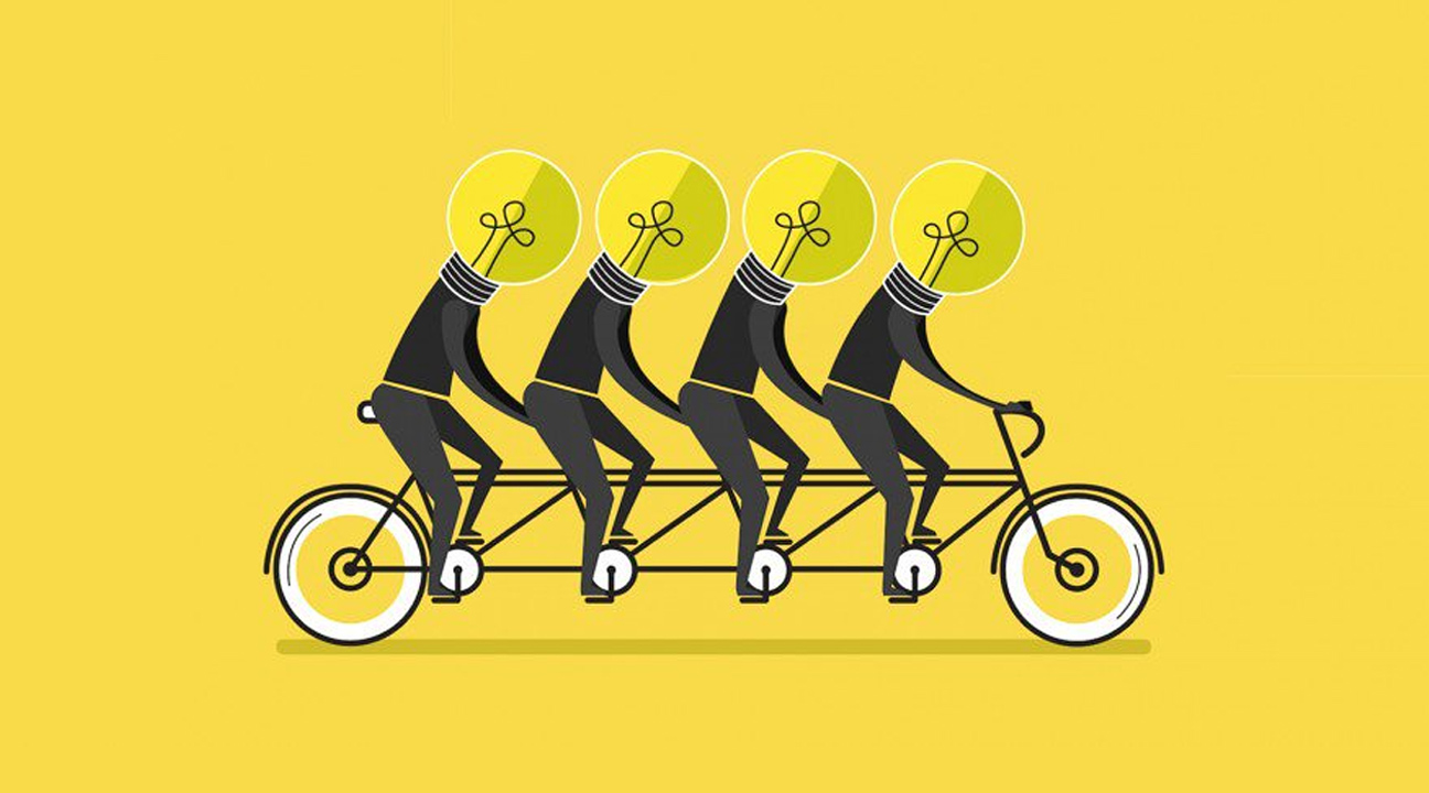 How to Nurture the Power of Creativity featured image - illustration four men with lightbulb heads cycling together in yellow background