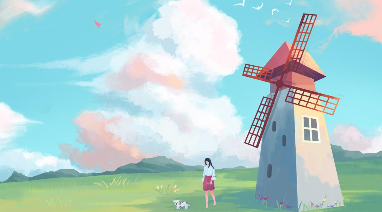 Illustration Inspiration january 2020 featured image - Windmills town by yaona