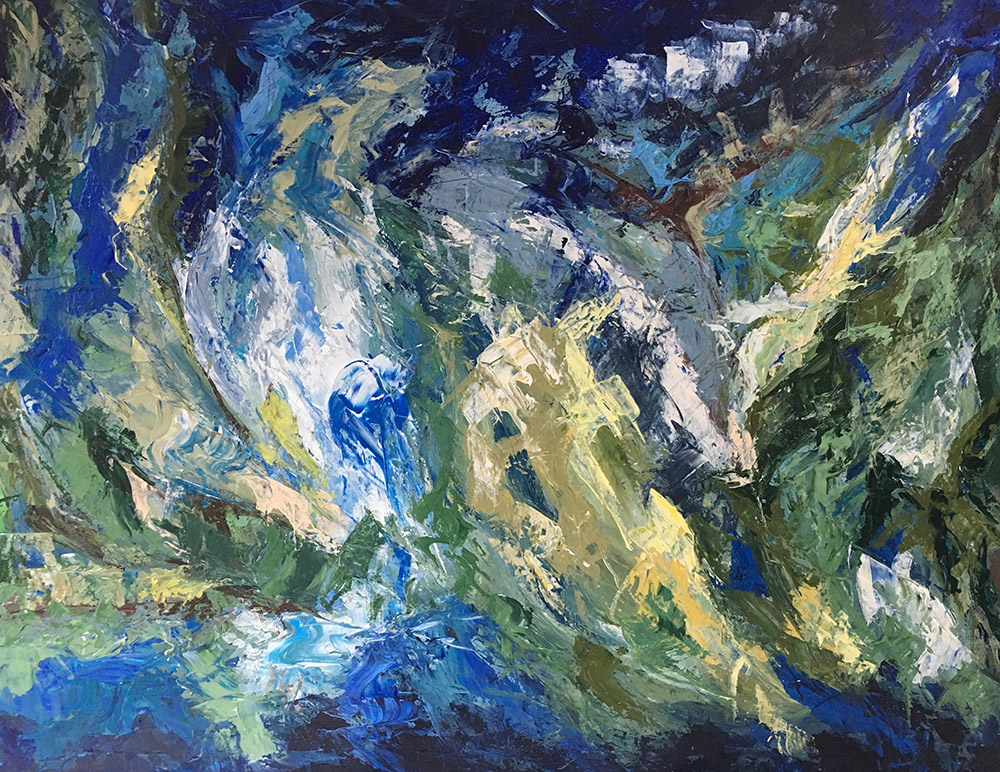 Charleston - blue abstract painting by Erin Alison Cooke Art