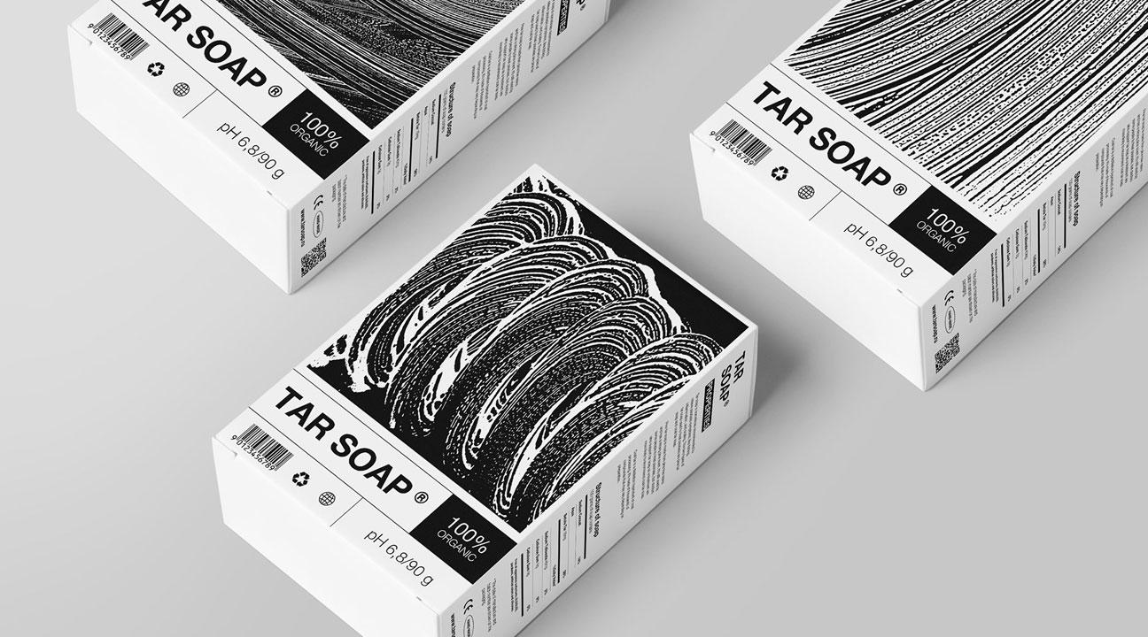 packaging design inspiration april 2021 featured image - TAR SOAP by Anastasia Azarenok